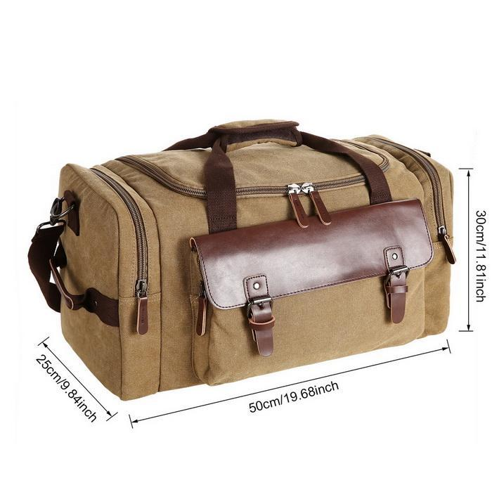 Canvas Duffle Bag Oversized Travel Tote Luggage with Shoulder Strap 5