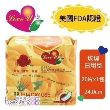 愛護妳草本植物精氣衛生棉-玫瑰日用型(24.0cmx20片)x3包