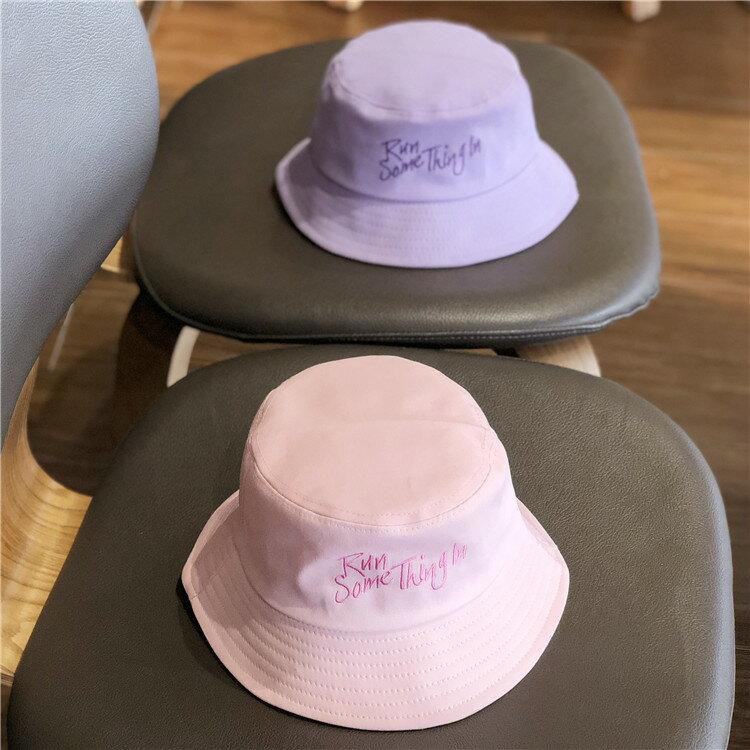 紫色漁夫帽子女夏韓版刺繡可愛學生日系軟妹防曬大沿遮陽盆帽男潮