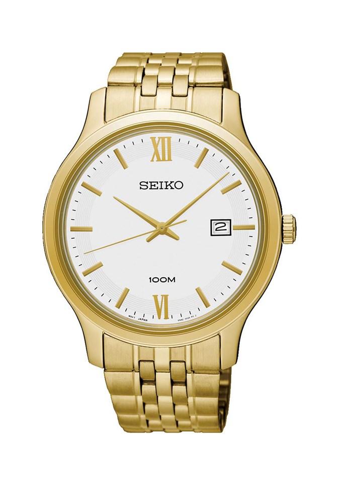 【錶飾精品】SEIKO手錶 精工表 SUR224P1 經典時尚 IP金 日期 防水鋼帶男錶 全新原廠正品 生日情人禮物