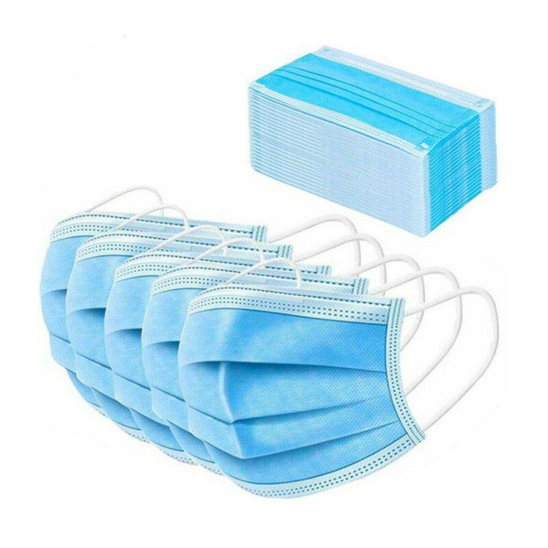 100/50/20個無紡布一次性口罩防塵防病毒防臭三層口罩透氣外科面罩藍色男女通用