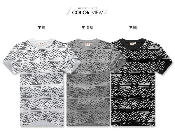 ☆BOY-2☆【IT3045】滿版三角圖騰男裝短袖T恤 現+預 1