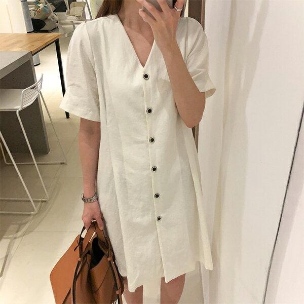 PS Mall 韓版簡約V領單排扣復古收腰 連身裙【T548】 1