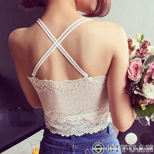 (女裝)交叉美背內搭小可愛【F0106】OBIYUAN細肩帶透膚蕾絲胸墊背心共2色