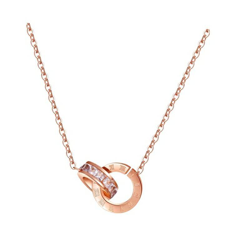 韓版網紅不掉色鈦鋼項鏈女鍍玫瑰金鎖骨鏈氣質吊墜百搭脖子配飾品 果果輕時尚
