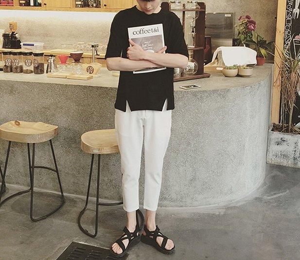 【JP.美日韓】 開叉設計 短袖 五分袖 男 時尚設計