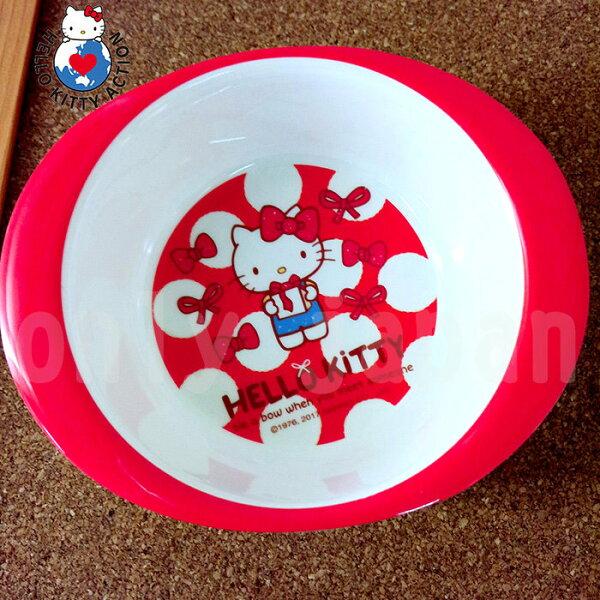 【真愛日本】18051800002圓雙耳碗-KT紅蝴蝶結三麗鷗kitty凱蒂貓兒童碗雙耳碗美耐皿碗