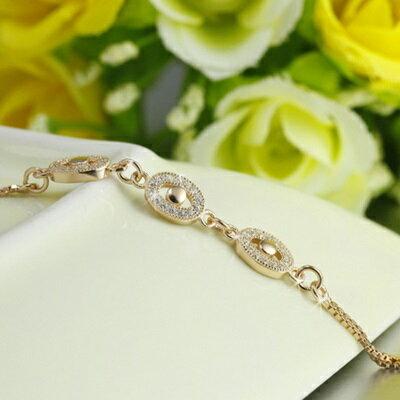 ~玫瑰金手鍊 鑲鑽純銀手環 ~ 高檔氣質百搭情人節生日 女飾品2色73dl7~ ~~米蘭