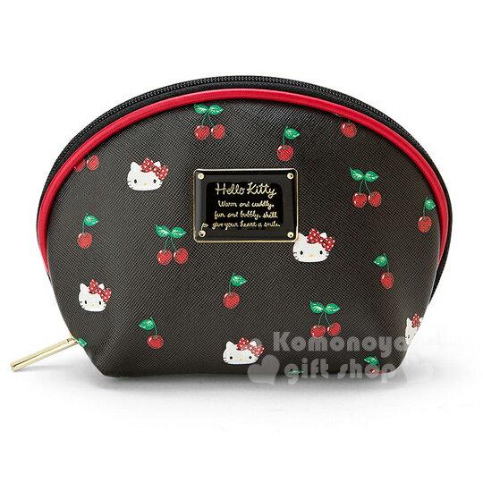 〔小禮堂〕Hello Kitty 全開式皮革化妝包《黑.大臉.櫻桃.貝殼型》