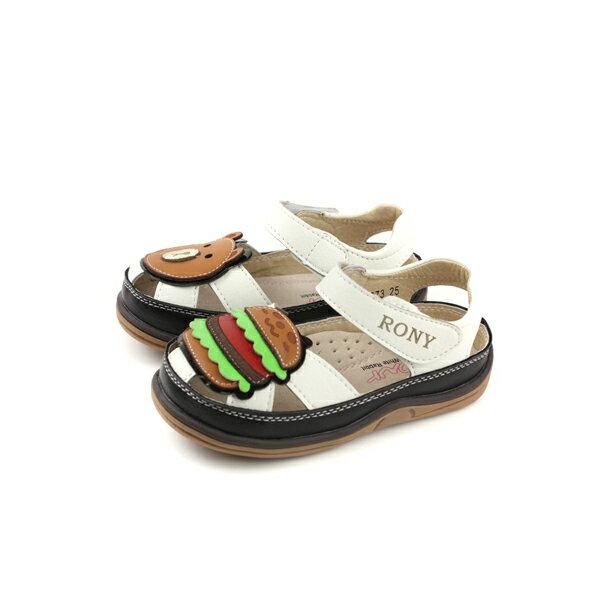 小女生鞋涼鞋皮質中童童鞋白色漢堡熊21373no113