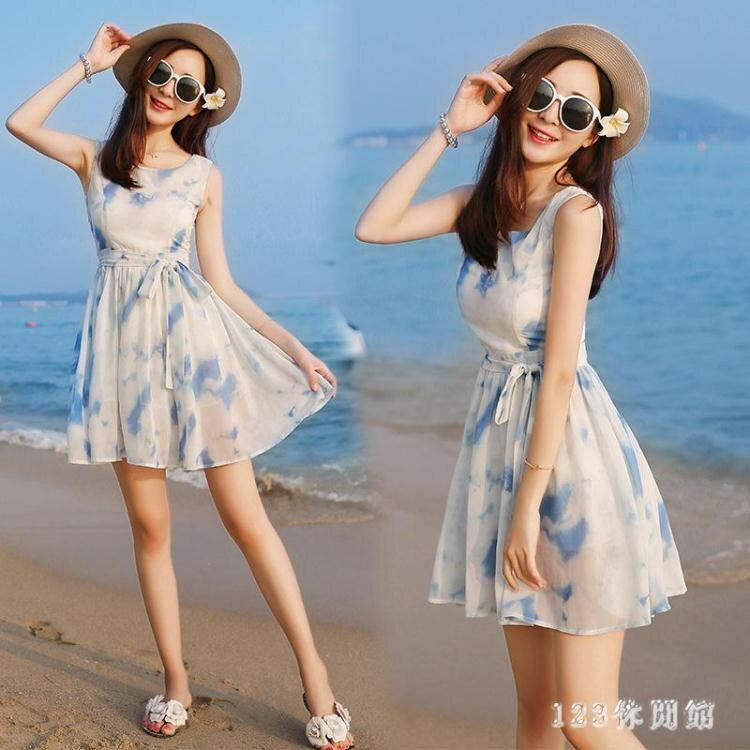 韓版時尚潮流xs夏無袖雪紡洋裝波西米亞海邊沙灘裙小個子女裝顯高店150cmLB13977《小蘿莉》 0