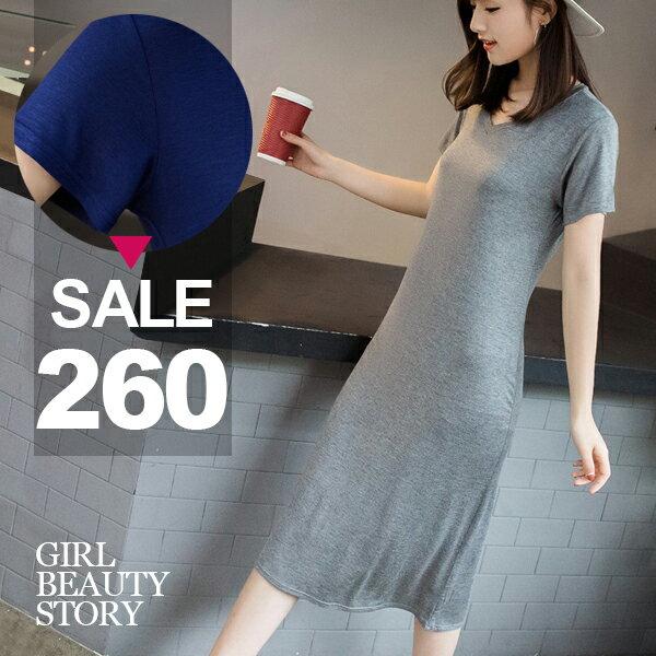SISI【D8106】現貨休閒百搭V領短袖修身顯瘦中長款舒適莫代爾棉連身裙洋裝