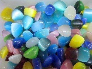 水晶貓眼石碎石diy飾品配件養花石魚缸底石大顆粒七彩石造景