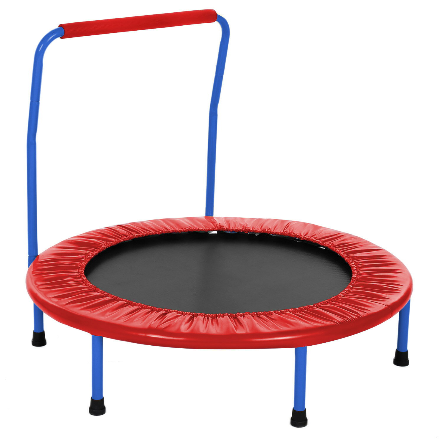 Kids Foldable Durable Construction Safe Trampoline with Padded Frame 0