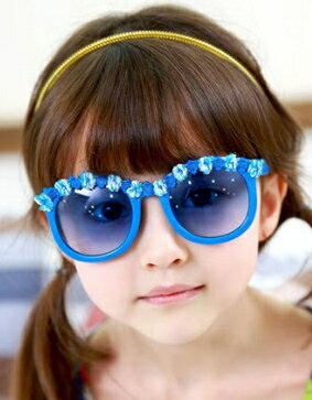 Kocotree◆夏日海洋風可愛花朵鏡框兒童防紫外線護目太陽眼鏡-藍色