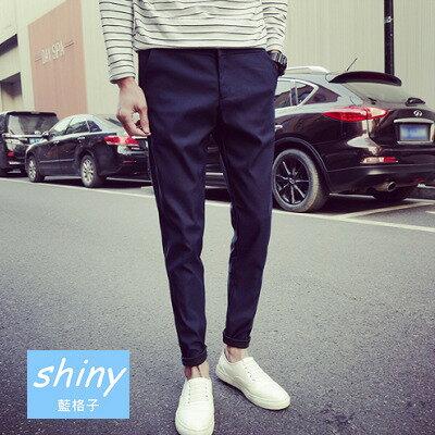 ~Y022~shiny藍格子~休閒帥氣.純色日系修身免燙小腳哈倫長褲