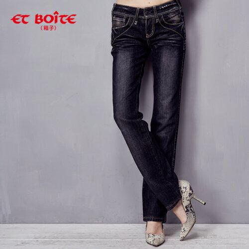 【990元優惠↘】LeJean黑灰色帥氣小直筒牛仔褲 - BLUE WAY ET BOiTE 箱子