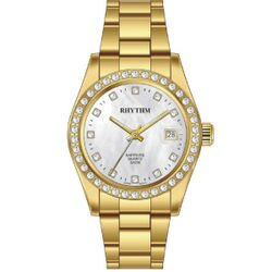 Rhythm 日本麗聲鐘時針 真鑽框日期顯示機械腕錶 (RQ1619S04) 灰x金 / 29mm