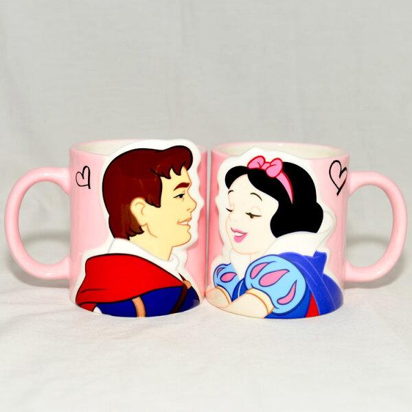 白雪公主與王子立體對杯馬克杯正版廸士尼日本帶回