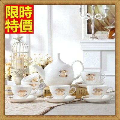 下午茶茶具 含茶壺+咖啡杯組合-5人高貴優雅骨瓷英式茶具3色69g39【獨家進口】【米蘭精品】