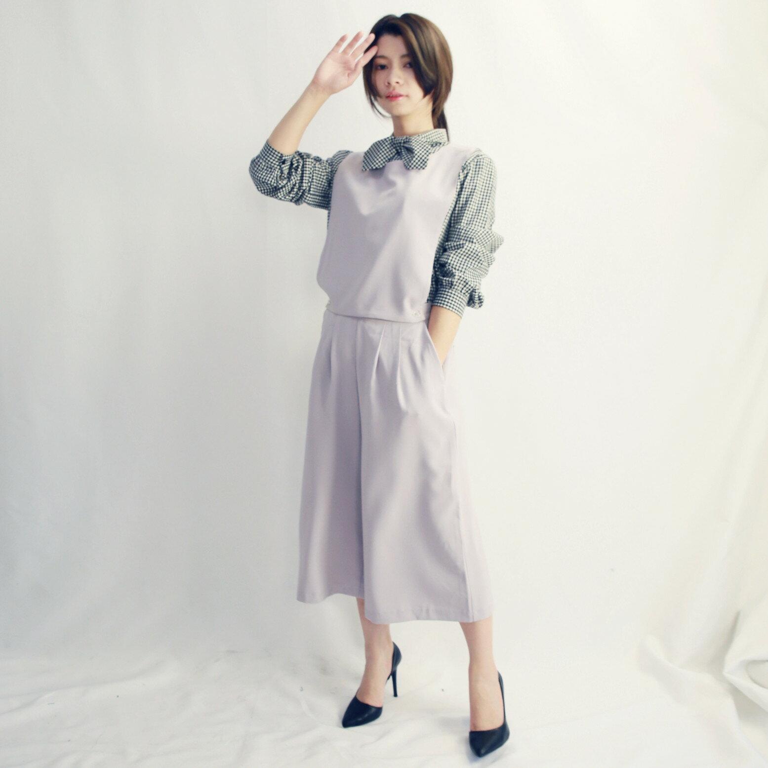 七分可拆背帶寬褲(紫灰色)-布朵朵