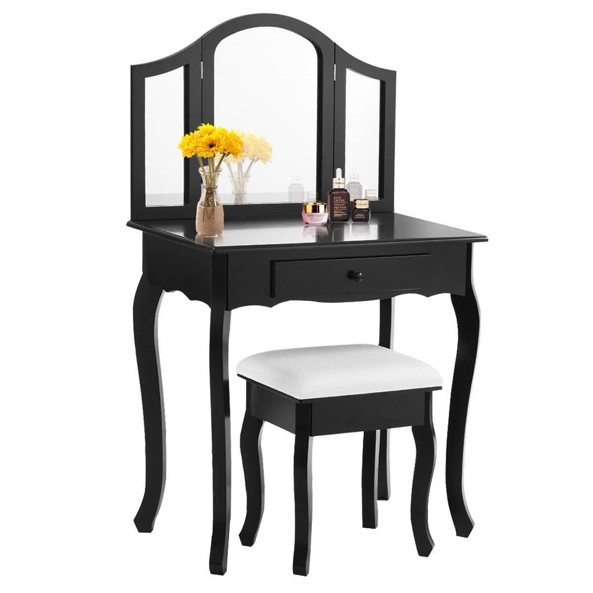Costway Black Tri Folding Mirror Vanity Makeup Table Set Bathroom W Stool Drawers 0
