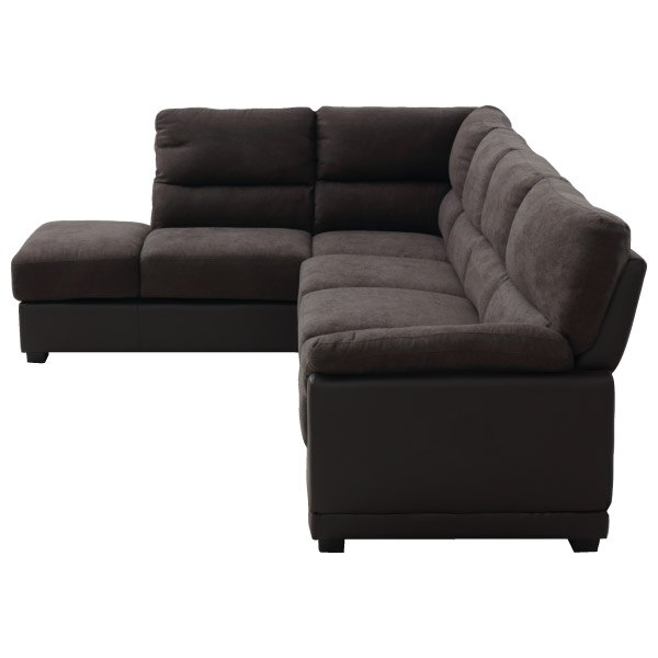 ◎(OUTLET)布質右躺椅L型加大沙發 DOUBLE LINE DBR 福利品 NITORI宜得利家居 2