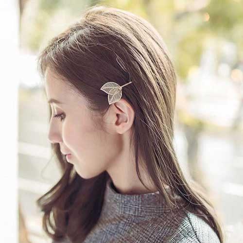 PS Mall 韓版髮飾一字夾 邊夾 水鑽鏤空樹葉子髮夾 髮卡【G1911】