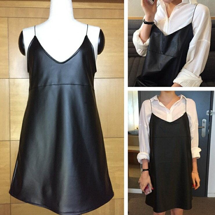 PS Mall  吊帶前後V領顯瘦短裙PU皮背帶連身裙 洋裝~T2759~ ~  好康折扣