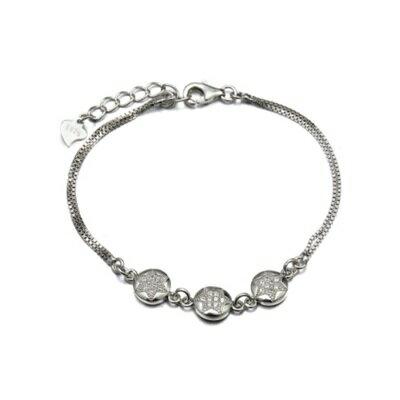 ~925純銀手鍊 鑲鑽手環~ 高檔氣質簡約情人節生日 女飾品2色73dl15~ ~~米蘭