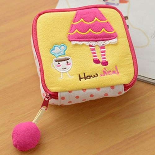 PS Mall 可愛卡通布藝衛生棉包 棉棉收納包 化妝包 零件包【J851】