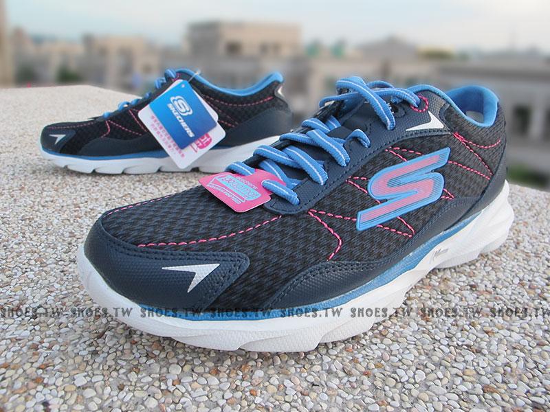 [23cm]《降價66折》 Shoestw【13943NVPK】SKECHERS 慢跑鞋 GoRun Sonic 深藍桃紅 瑜珈鞋墊 女生