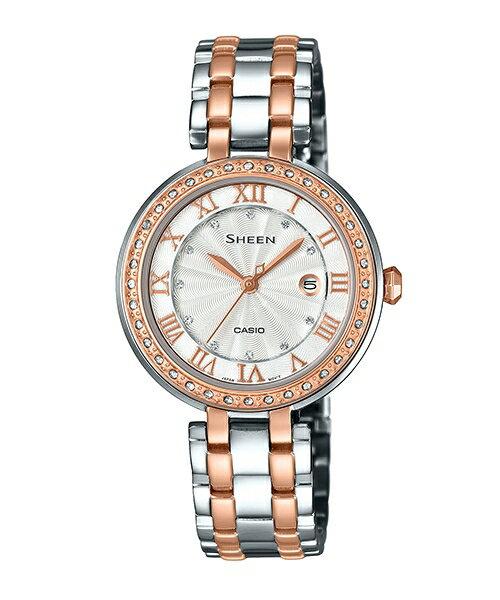 CASIO SHEEN SHE-4034BSG-7A同心圓時尚腕錶/白色31mm