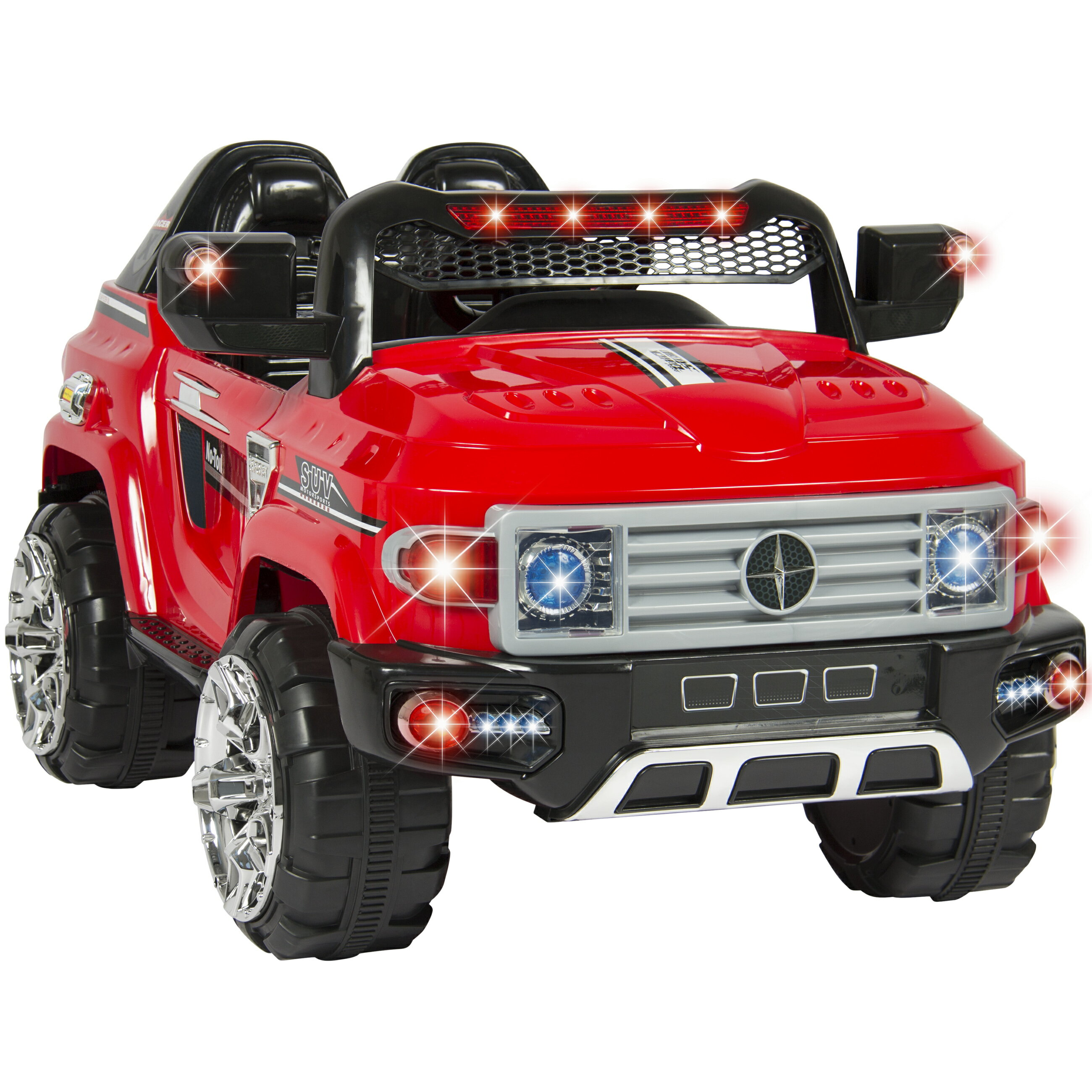 Best Choice Products 12V Kids Remote Control Truck SUV Ride-On Car w/ 2  Speeds, LED Lights, MP3, Parent Control - Red