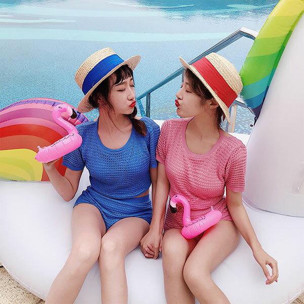 上衣式針織比基尼套裝泳衣泳裝短袖露背海邊顯瘦爆乳小胸韓國兩截式性感多色閨蜜ANNAS.
