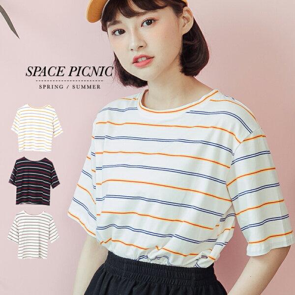 上衣SpacePicnic 現+預.雙色條紋圓領短袖上衣【C18051001】