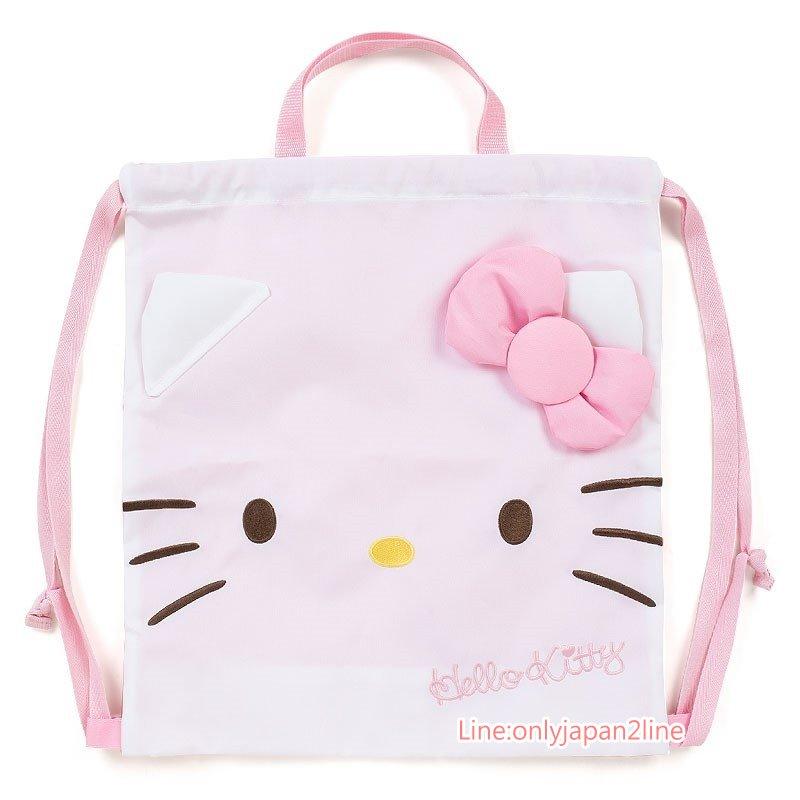 【真愛日本】17032200016 兩用束口後背提袋-KT大臉粉結AAG 三麗鷗 Hello Kitty 凱蒂貓 提袋 後背 收納包 束口袋