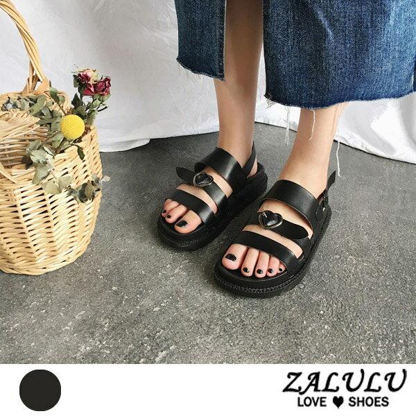ZALULU愛鞋館7DE050小女人心型平底休閒涼鞋-黑-35-40