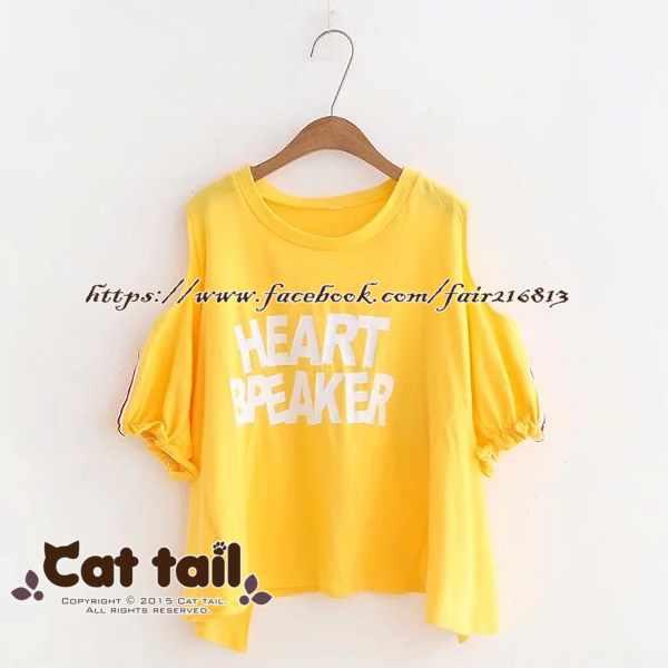 《貓尾巴》TS-0922韓版大字母印花短袖T恤(森林系日系棉麻文青清新)