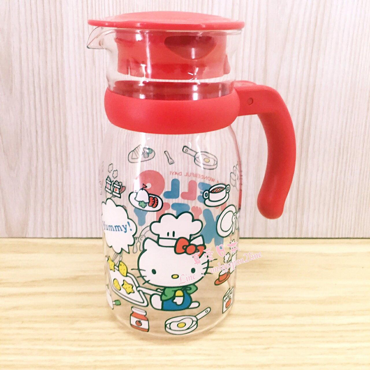 【真愛日本】16082200002耐熱玻璃壺-廚師紅  三麗鷗 KITTY 凱蒂貓 玻璃瓶 水瓶 瓶罐 生活用品