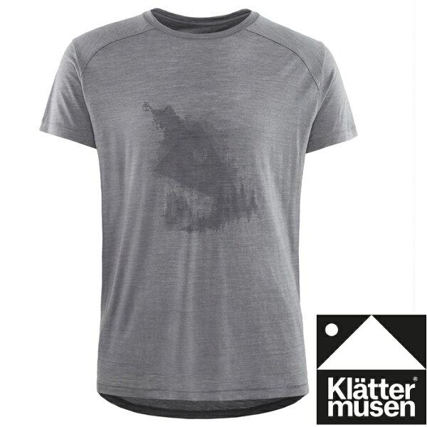 Klattermusen攀山鼠登山排汗衣美麗諾羊毛+絲短袖T恤EirForest男KM20618M迷霧灰GM