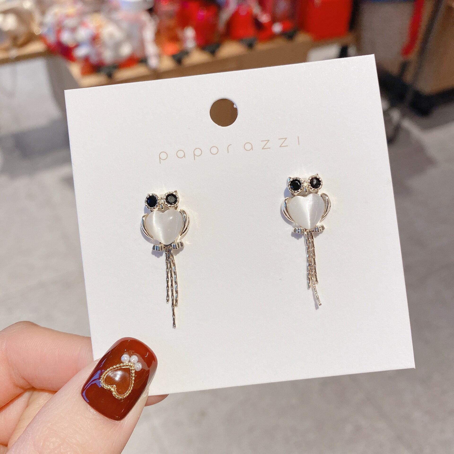 復古跨境誇張新款貓眼石耳環創意設計感貓頭鷹耳釘簡約流蘇耳飾女