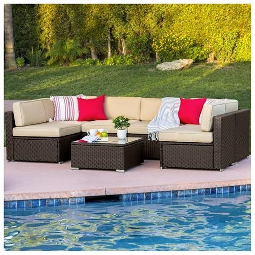 b76d644b5fc Best Choice Products 7-Piece Modular Outdoor Patio Wicker Sectional  Conversation Sofa Set w