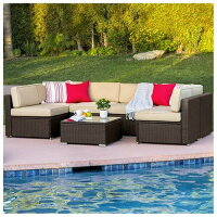 Best Choice Products 7-Piece Modular Outdoor Patio Wicker Sectional Conversation Sofa Set w/ Seat Clips, Cover, Table