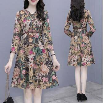 碎花洋裝 秋款洋氣小個子高端連身裙女裝2020年新款碎花春秋裝流行氣質裙子