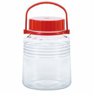 日本《ADERIA》石塚哨子3公升抗菌玻璃醃製罐/玻璃罐-3L 紅色 注水蓋 可拆提把 梅酒 果醋 泡菜 水果酒