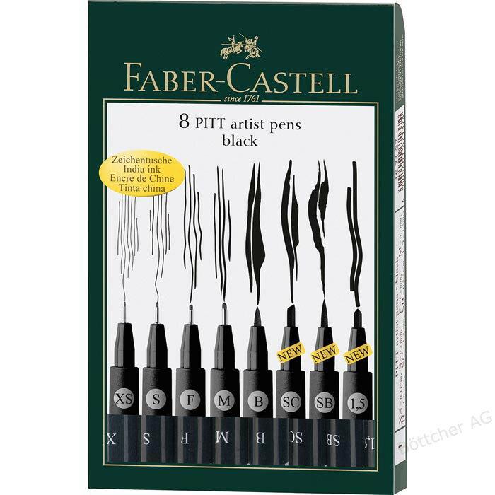 德國輝柏Faber-Castell PITT藝術筆 防水藝術筆 藝術漫畫筆專用 (4入 / 6入 / 8入裝)