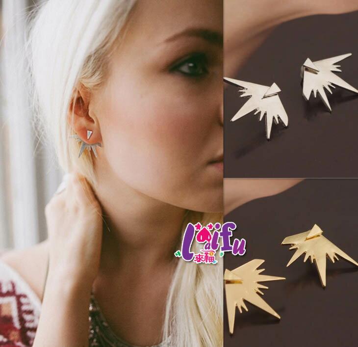 ~草魚妹~H422耳環山形中島三角耳環 風耳環,一對售價119元