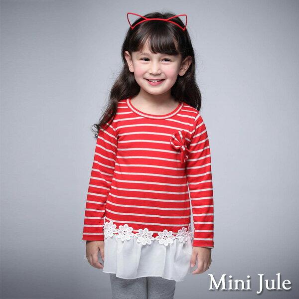 Azio Kids美國派:《MiniJule童裝》上衣條紋蝴蝶結花朵雪紡下擺長袖上衣(紅)