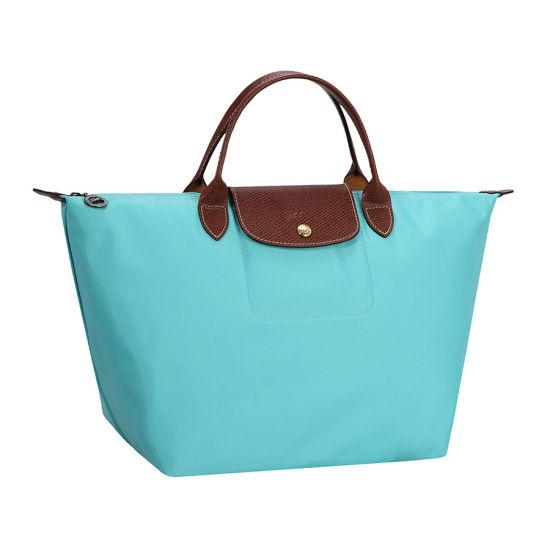 [1623-M號]國外Outlet代購正品 法國巴黎 Longchamp  短柄 購物袋防水尼龍手提肩背水餃包 湖綠色 0